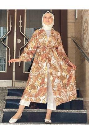 EKABE Kadın Turuncu Desenli Kimono 0