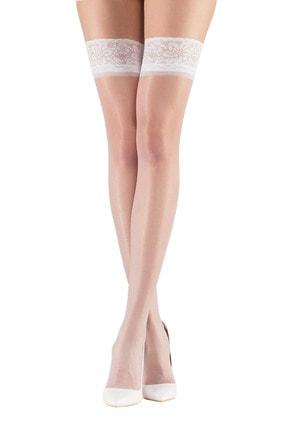 Mite Love Kadın Beyaz Fit 15 Dantelli Silikonsuz Jartiyer Çorabı 0