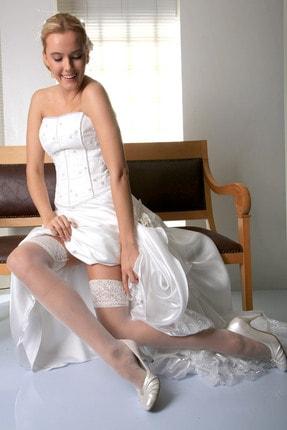 Mite Love Kadın Beyaz Fit 15 Dantelli Silikonsuz Jartiyer Çorabı 1