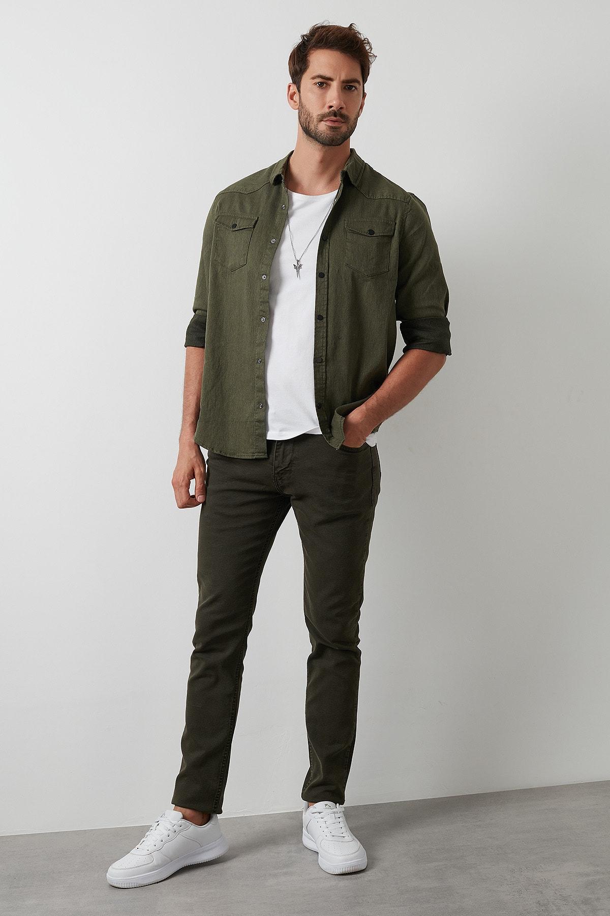 Buratti Erkek Haki 7267f4132zagor Regular Fit Pamuklu Jeans Kot Pantolon 4