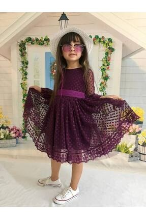 Buse&Eylül Bebe Mor Şapkalı Tüllü Güpür Detaylı Kız Çocuk Elbisesi 1