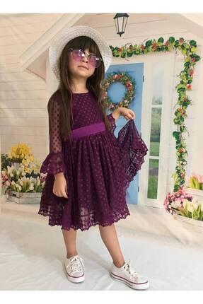 Buse&Eylül Bebe Mor Şapkalı Tüllü Güpür Detaylı Kız Çocuk Elbisesi 2