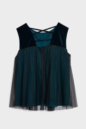Yargıcı Kadın Petrol Pliseli Kolsuz Bluz 0KKGM6061X 1