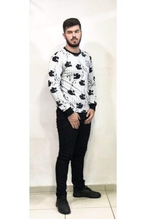 Erkek Beyaz Siyah Çizgili Yaprak Detaylı Dalgıç Kumaş Süper Slim Fit Yuvarlak Yaka Sweatshırt DRKWT1000
