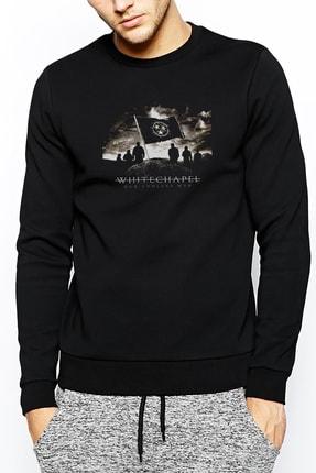 Collage Whitechapel Our Endless War Baskılı Siyah Erkek Örme Sweatshirt Uzun Kol 0