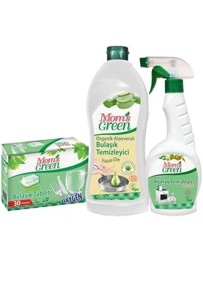 Mom's Green 3'lü Set Ekolojik Bulaşık Tableti - Aloe Veralı Elde Bulaşık Ve Mutfak Sprey 0