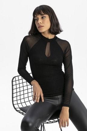 modavingo Kadın Siyah Yarım Balıkçı Tül Garnili Bluz 0