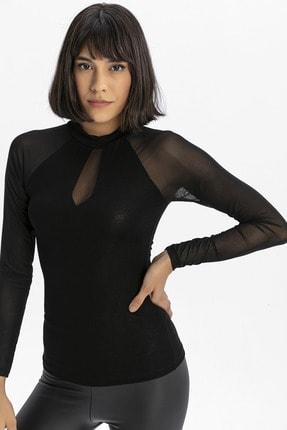 modavingo Kadın Siyah Yarım Balıkçı Tül Garnili Bluz 1