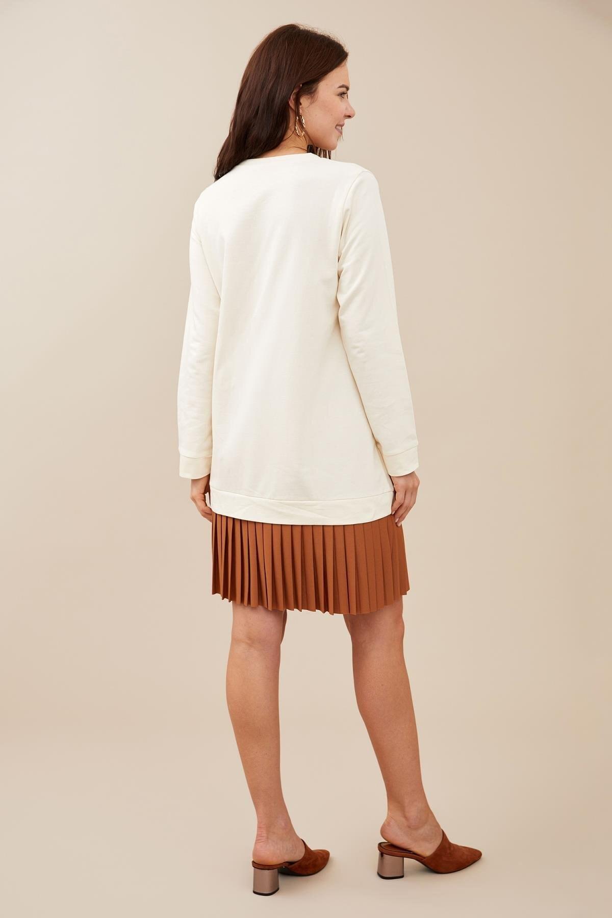 Defacto Kadın Ecru Hamile Pilise Detaylı Pamuklu Sweat Elbise S2388AZ20AU 3