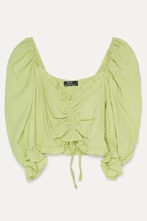 Bershka Kadın Lime Büzgülü Ve Karpuz Kollu Bluz 4