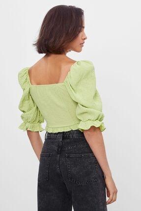 Bershka Kadın Lime Büzgülü Ve Karpuz Kollu Bluz 1