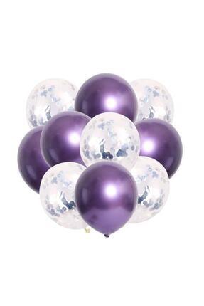 kidspartim 10 Lu Gümüş Konfetili Krom Mor Balon Seti 0