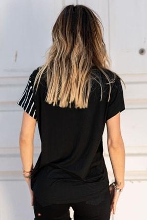XHAN Kadın Siyah & Beyaz V Yaka Bluz 0yxk2-43360-02 1