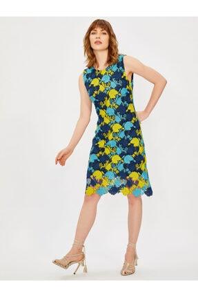 Vekem Kadın Lacivert Kolsuz Yuvarlak Yaka Dantel Elbise 3