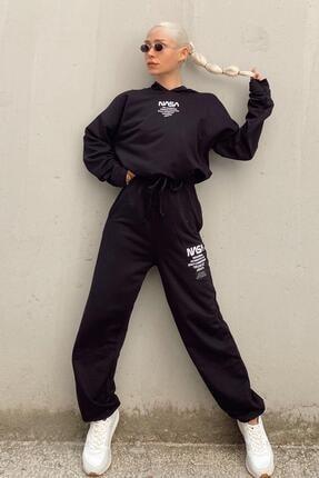 SwistLuxury Kadın Siyah Nasa Baskılı Kapüşonlu Yüksek Bel Eşofman Takımı 0