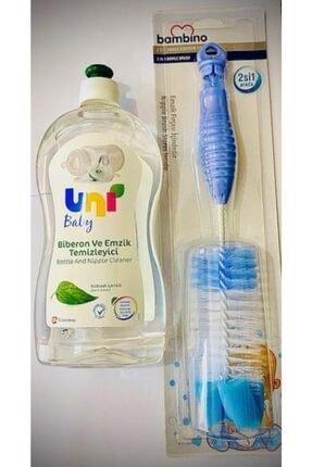 Bambino Uni Baby Temizleyici+ Biberon Fırça Seti Mavi 0