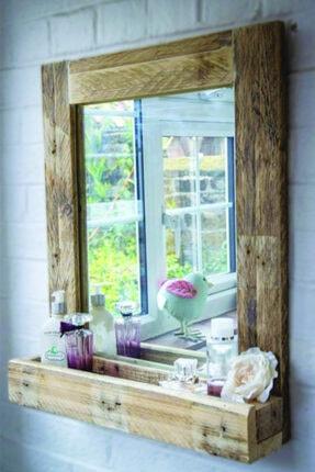 Evmingo Raflı Ayna 65x55cm 0
