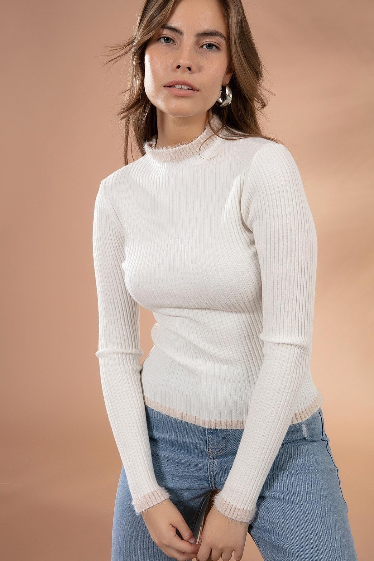 Pattaya Kadın Yaka Detayı Tüylü Fitilli Triko Kazak Y20w117-16811 1