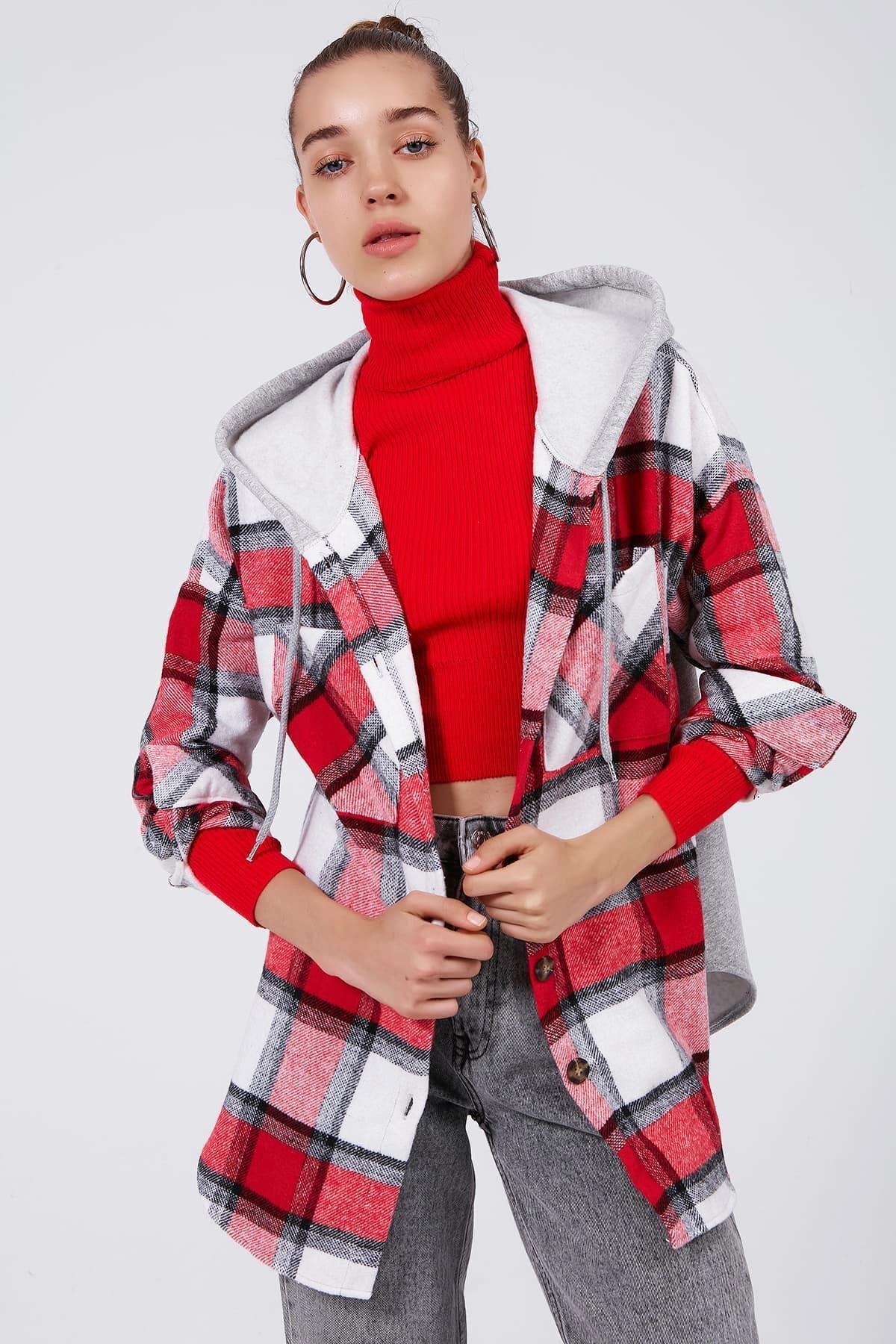 Y-London Kadın KIRMIZI Ekoseli Kapşonlu Oduncu Gömlek Y20W166-3996 0