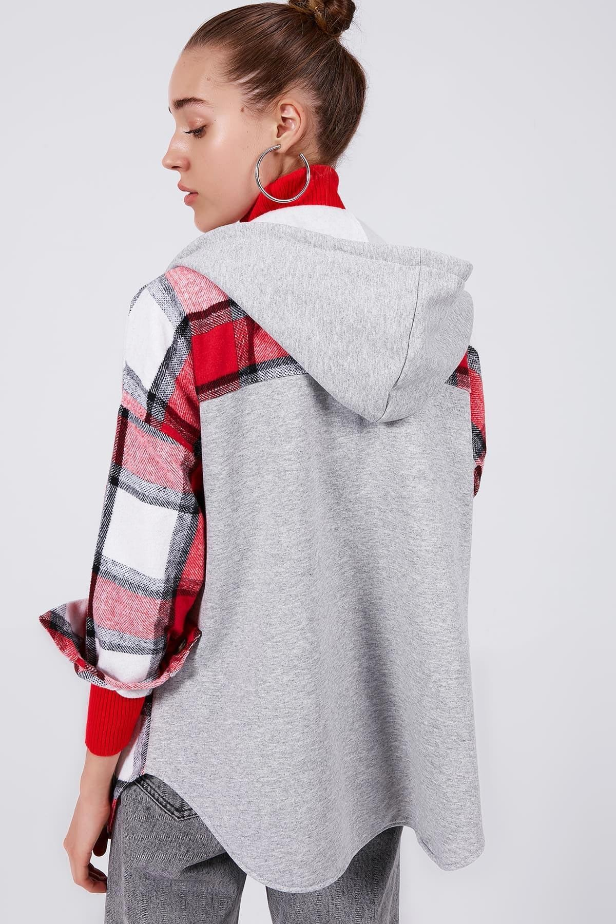 Y-London Kadın KIRMIZI Ekoseli Kapşonlu Oduncu Gömlek Y20W166-3996 3
