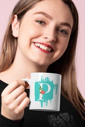 P Baş Harf Çiçekli Baskılı Kupa Hediyelik Porselen Kişisel Bardak MDBJcicekli-0019