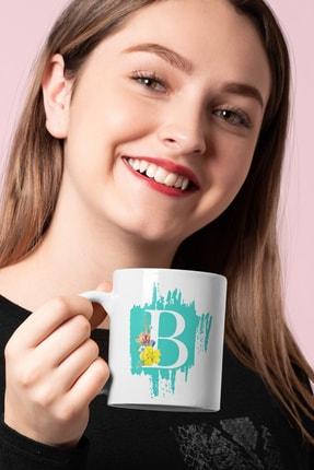 B Baş Harf Çiçekli Baskılı Kupa Hediyelik Porselen Kişisel Bardak MDBJcicekli-0002