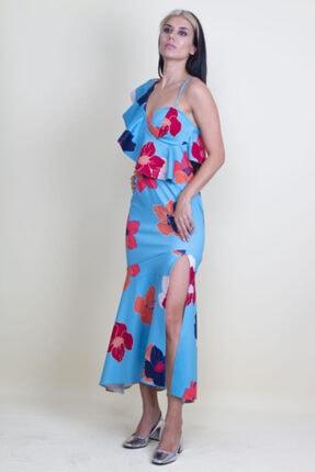 Şans Kadın Mavi Tek Omuz Askılı Yırtmaçlı Çiçek Desenli Elbise 1