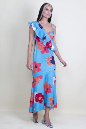 Şans Kadın Mavi Tek Omuz Askılı Yırtmaçlı Çiçek Desenli Elbise 4