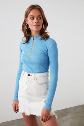 TRENDYOLMİLLA Mavi Fermuar Detaylı Örme Bluz TWOAW20BZ0512 1