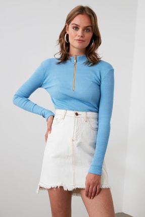 TRENDYOLMİLLA Mavi Fermuar Detaylı Örme Bluz TWOAW20BZ0512 2