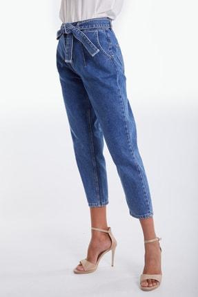 Denim Republic Kadın Mavi Kemerli Yüksek Bel Mom Jeans 4