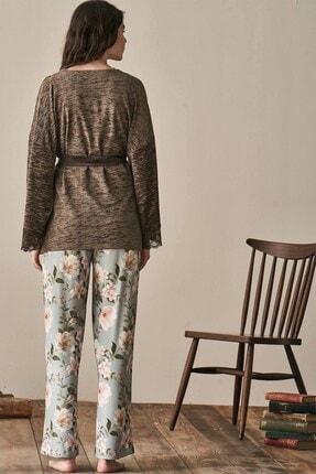 Lohusa Sepeti Kadın Yeşil Uzun Kollu Sabahlıklı Pijama Takımı-3942 1