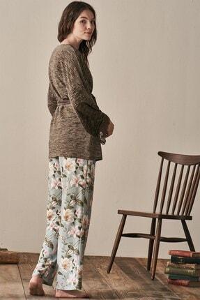 Lohusa Sepeti Kadın Yeşil Uzun Kollu Sabahlıklı Pijama Takımı-3942 3