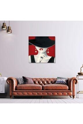 PabloFi Marco Fabiano Siyah Şapkalı Kadın Portre Yağlı Boya Reprodüksiyon 100 X 100 Cm 0