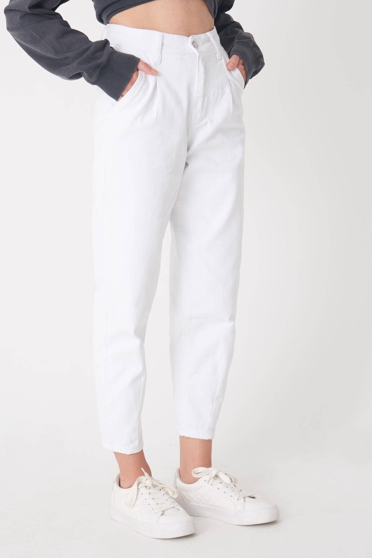 Addax Kadın Beyaz Cep Detaylı Pantolon Pn6895 - Pnh Adx-0000023130 1