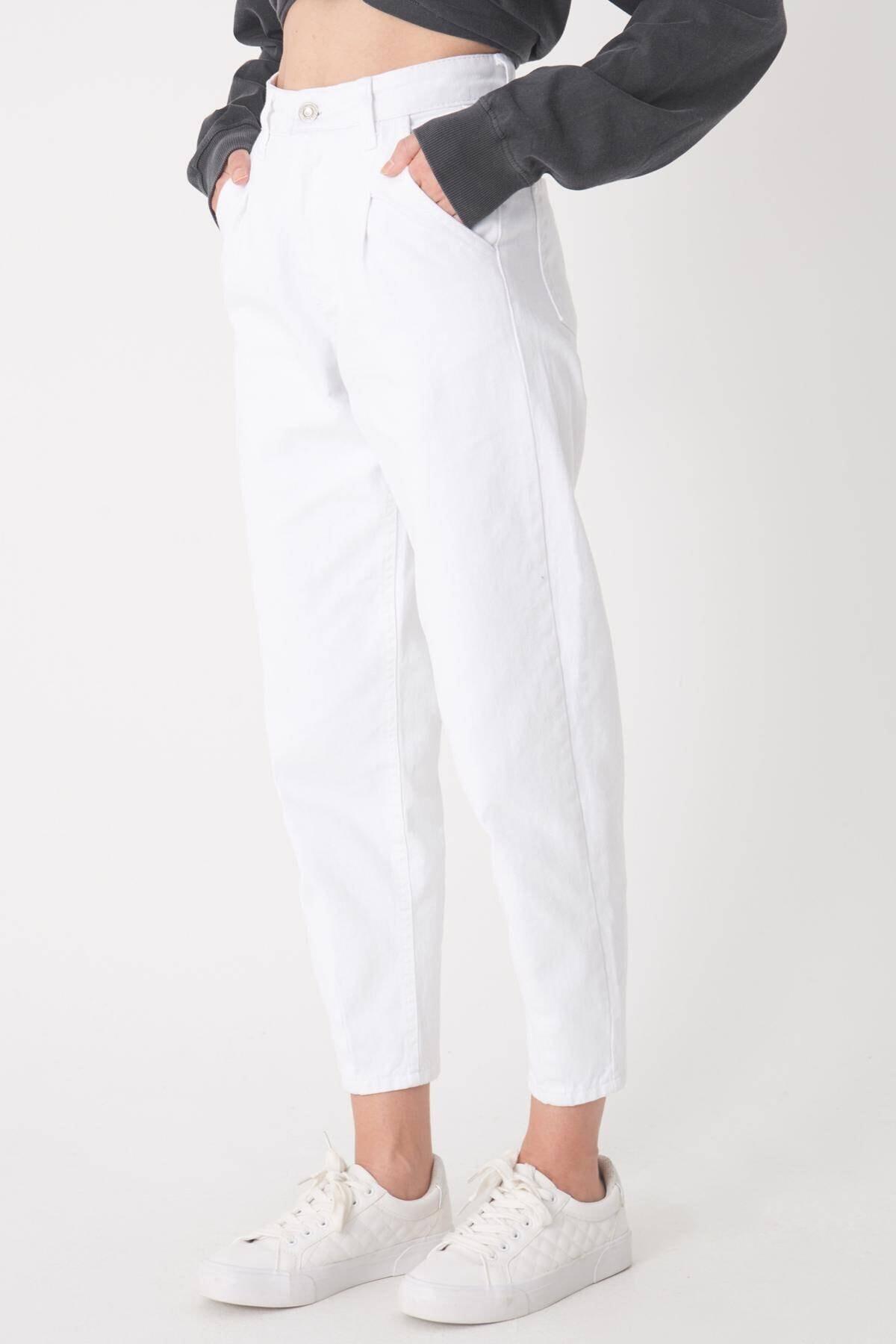 Addax Kadın Beyaz Cep Detaylı Pantolon Pn6895 - Pnh Adx-0000023130 3