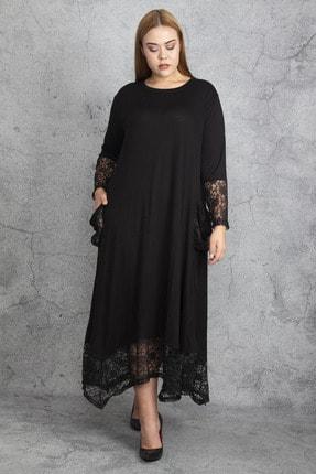 Şans Kadın Siyah Dantel Detaylı Viskon Uzun Kollu Elbise 65N18911 0