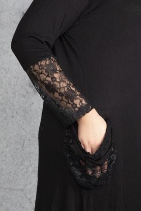 Şans Kadın Siyah Dantel Detaylı Viskon Uzun Kollu Elbise 65N18911 2