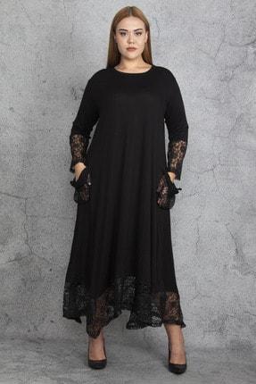Şans Kadın Siyah Dantel Detaylı Viskon Uzun Kollu Elbise 65N18911 3