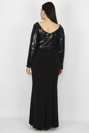Şans Kadın Siyah Üst Kısmı Payet Yırtmaçlı Elbise 65N18754 3
