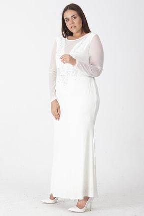 Şans Kadın Kemik Taş İşli Abiye Elbise 65N18748 2