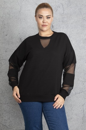 Şans Kadın Siyah Filedetaylı Sweatshirt 65N18844 3