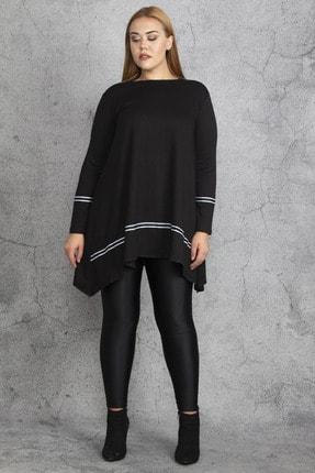 Şans Kadın Siyah Ribana Detaylı Tunik 65N18830 1