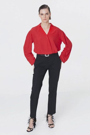 İpekyol Kadın Kırmızı Yaka Detaylı Bluz IS1200006093034 1