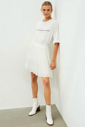 İpekyol Kadın Beyaz Slogan Baskılı Tişört 1