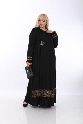 Şirin Butik Kadın Siyah Büyük Beden Leopar Detaylı Viskon Elbise 1