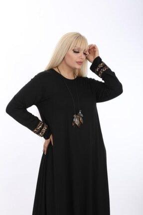 Şirin Butik Kadın Siyah Büyük Beden Leopar Detaylı Viskon Elbise 3