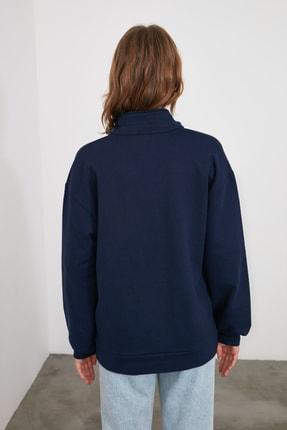 TRENDYOLMİLLA Lacivert Polo Yaka Düğme Detaylı Basic Örme Sweatshirt TWOAW21SW1039 3