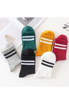 çorapmanya 8' Li Erkek Kolej Çok Renkli Çizgili Tenis Çorabı 1