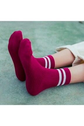 çorapmanya 8' Li Erkek Kolej Çok Renkli Çizgili Tenis Çorabı 3